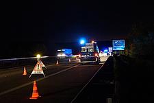 Unfallabsicherung auf der Autobahn