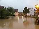 Überflutete Straße im Filstal